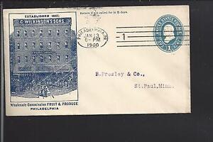 PHILADELPHIA,PENNSYLVANIA 1900 ILLUST ADVT COVER, C.WILKINSONS FRUIT & PRODUCE.