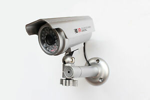 Falso-Camara-Seguridad-DISENO-NOVEDOSO-Energia-Solar-Rojo-Luz-LED