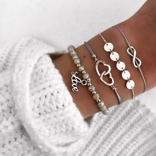 Fashion Femmes corde Pierre Naturelle Cristal Chaîne Alliage Bracelets Bijoux Set