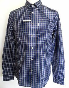 BEN-SHERMAN-Men-Long-Sleeve-B-D-Check-Shirt-Color-Navy-Size-S-amp-L-MA10836