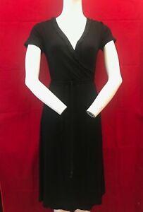 BNWT-THE-WHITE-COMPANY-White-Label-Black-Frill-V-Wrap-Dress-UK-8-RRP-89