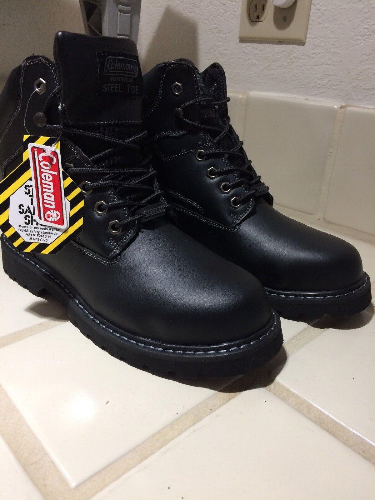 Nuevo Coleman Puntera De Acero botas para hombre Ropa De Trabajo De Cuero Negro Socket