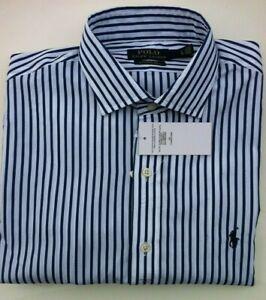 Qualitätsprodukte Online kaufen große Auswahl Details zu Polo Ralph Lauren Hemd blau weiß gestreift stretch classic fit  Gr. L