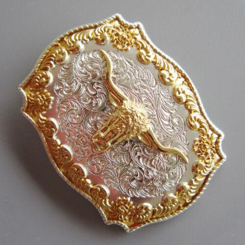Mens Antique Rodeo Bull Head Western Cowboy Gold Metal Belt Buckle Accessory
