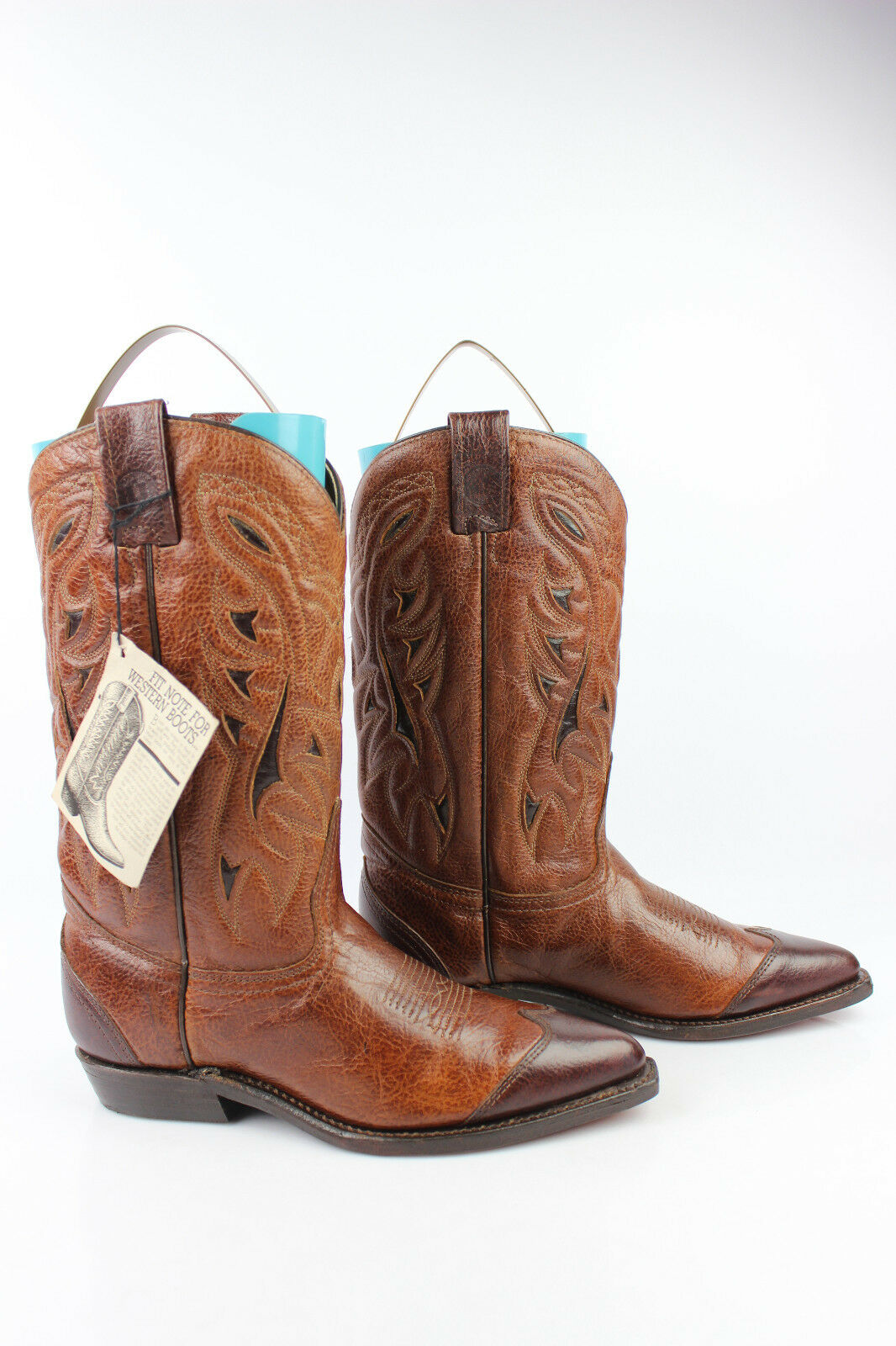 Boots Cowboy Western DOUBLE H All Brown Leather US 7,5   Fr 37,5 MINT