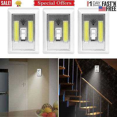 3 Pcs Cob Led Wall Switch Wireless Battery Operated Closet Cordless Night Light