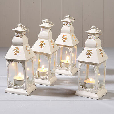 4X18CM CREAM METAL TEA LIGHT HOLDER HALLWAY WEDDING PATIO GARDEN ROOM