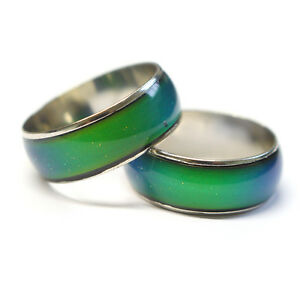 Genuine-Kids-Colour-Changing-Silver-Mood-Ring-amp-Mood-Chart-8-Sizes-Available