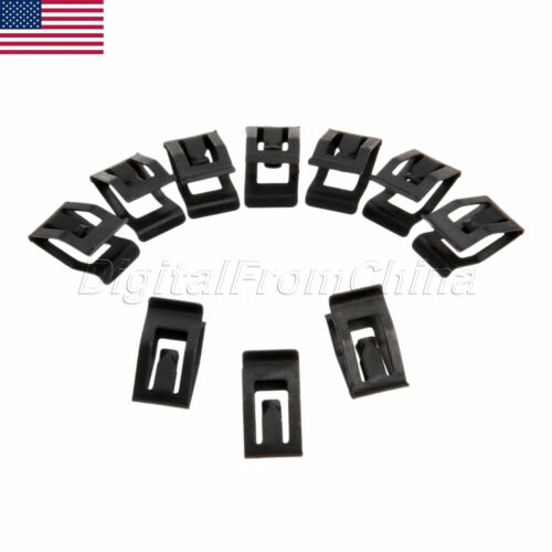 10Pcs Universal Auto Car Front Console Dash Dashboard Trim Metal Retainer Black