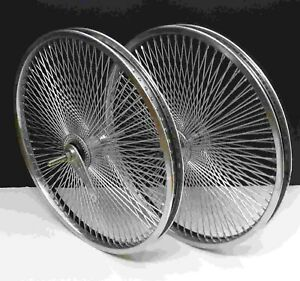"26/"" Rear /& Front mountain Cruiser Rims 144 spokes wheels Free wheel Chrome"