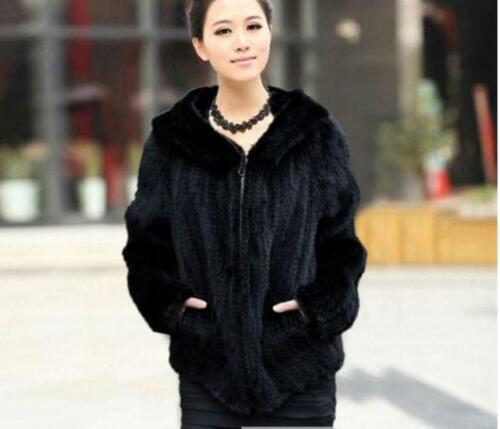 High Quality 100/% Real Genuine Knitted Mink Fur Hood Coat Jacket Outwear New