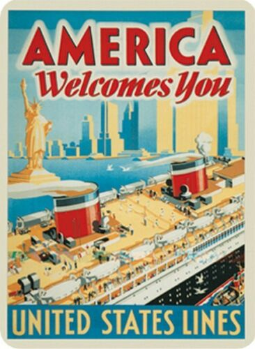 America Welcomes You 30X40 cm -Neu United States Lines Blechschild 303//113
