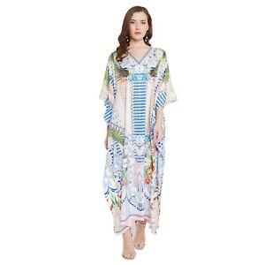 Women Long Kaftan Floral Swimwear Cover Up Kimono Caftan Dress Plus Size Tunic