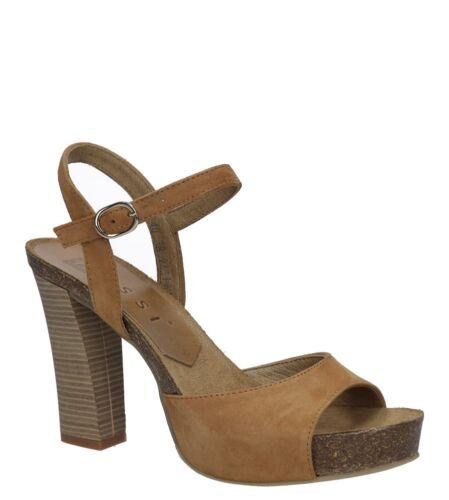 Damen Sandalen Nessi Echtleder Blockabsatz Klettverschluss//Schnalle Gr.36-40 NEU