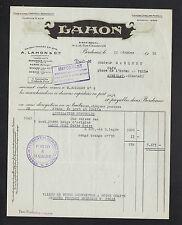 """BORDEAUX (33) VIN & ALCOOL FORT """"LAHON"""" en 1952"""