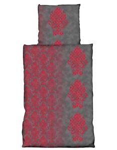 4 Tlg Bettwasche 135x200 Cm Grau Rot Ornamente Microfaser 2