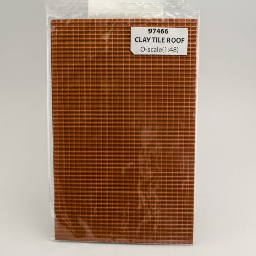"""2 JTT SCENERY 97466 CLAY TILE ROOF 1:48 O SCALE 7.5/"""" x 12/"""" SHEETS JTT97466"""