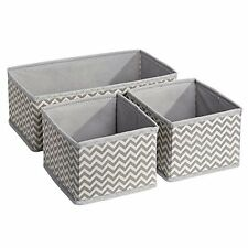 Storage Bin Fabric Dresser Drawer Organizer Chevron Function Box Clothes Set of3