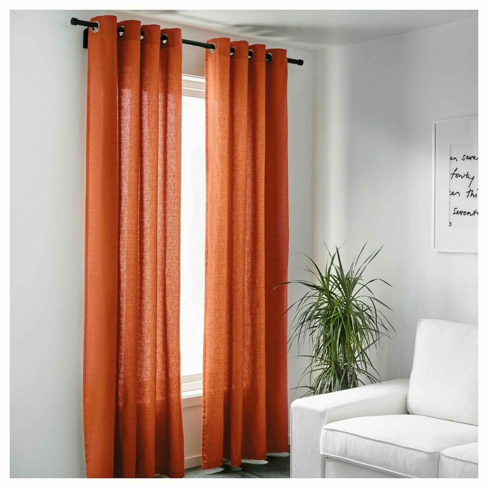 Mariam Orange Pair Of Curtains Cotton Ikea Curtain Panels 57x98 145x250cm For Sale Online