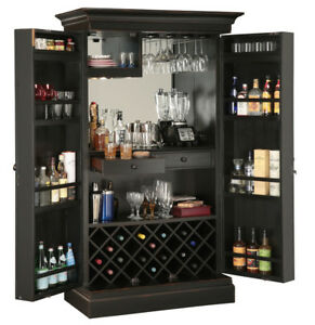 Howard-Miller-695-142-Sambuca-Wine-amp-Bar-Cabinet-Worn-Black-Finish-695142