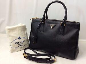 2ac6e9cd03e3 Auth Prada Fuoco Saffiano Lux Double Zip Black Medium Tote Bag ...