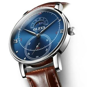 OLEVS-UltraThin-Waterproof-Fashion-Business-Luxury-Genuine-Leather-Men-039-s-Watch