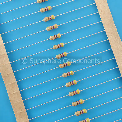 100x 0.25W Carbon Film Resistor 10Ω to 10kΩ - 1st Class UK Post