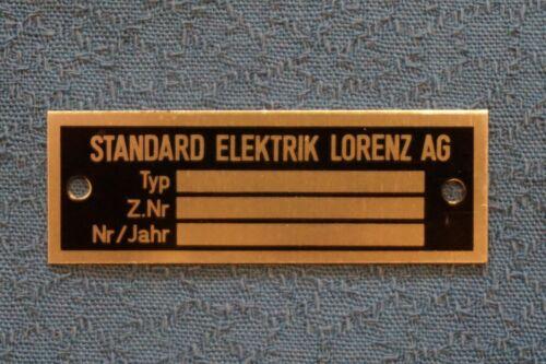 SEL -- NOS 5 Typenschilder STANDARD ELEKTRIK LORENZ AG