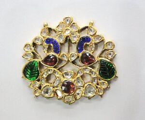 Vintage antique Solid 20k Gold jewelry Diamond Polki Rhodolite