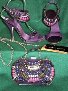 KAREN-MILLEN-Purple-3-3-5-Tribal-Beaded-260-Sandals-dress-Shoes-Evening-Bag-SET