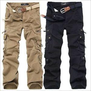 Boutique-Cotton-Men-039-s-Top-Casual-Cargo-Pants-Loose-Trousers-Outdoor-Jeans-Pants