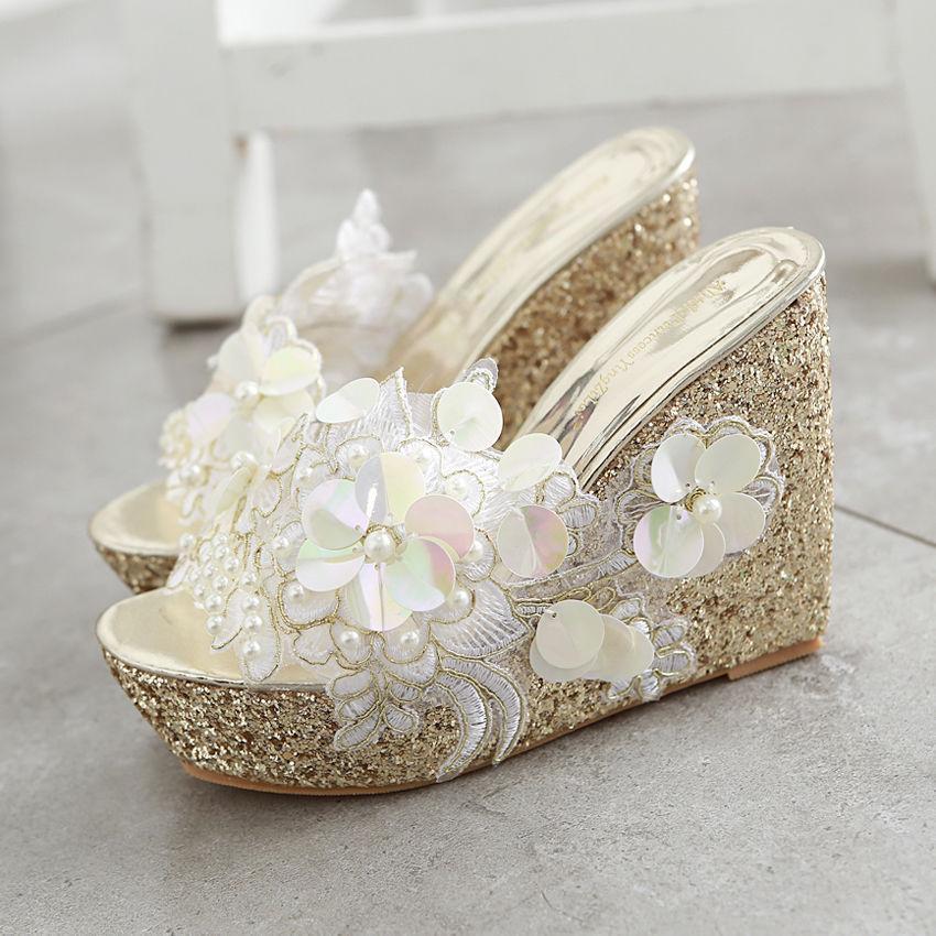 femmes Flower Pearls Sandal Platform Wedge Heel Open Toe chaussures Slippers Sweet SZ