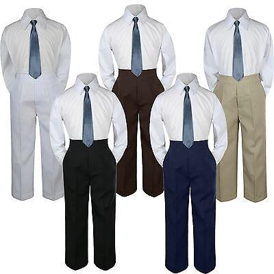 3PC Shirt Gray Pants Nectie Set Baby Boy Toddler Kid Formal Suit Sm-78