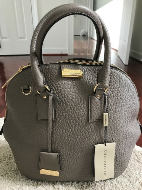984367ac05c Authentic Burberry Orchard Heritage Grained Medium Grey Leather Satchel Bag