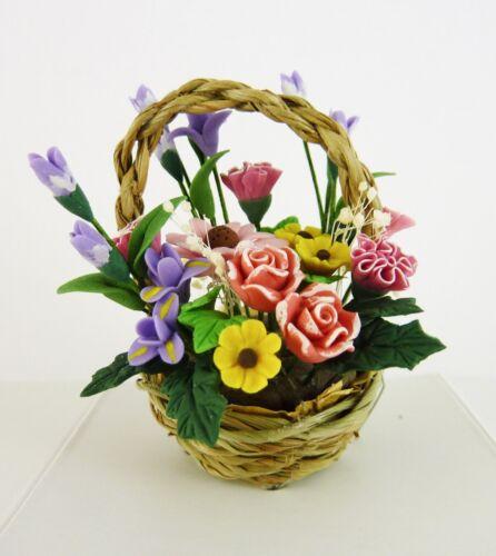 Dollhouse Miniature Basket Full of Flowers Bouquet A1070