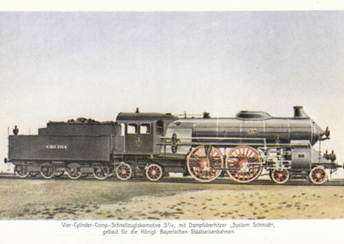 Postcard viercylindercomp Express Train Locomotive with dampfüberhitzer