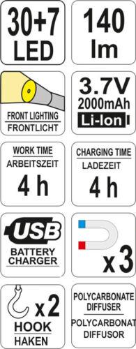 30+7 DEL Batterie Lampe De Travail Lampe de Travail Atelier Lampe stand lampe lampe de poche
