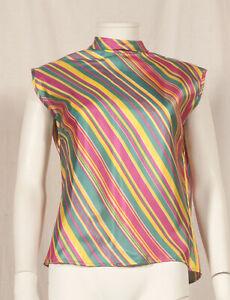 Annees-60-Francais-Vintage-a-rayures-Parti-shirt-UK-14-Ajuste-16