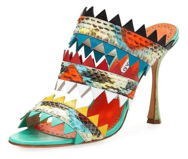 995 ny Manolo Blahnik ARPEGE SNAKE SNAKE SNAKE Slide Sandals klackar grön orange skor 37  online shopping sport