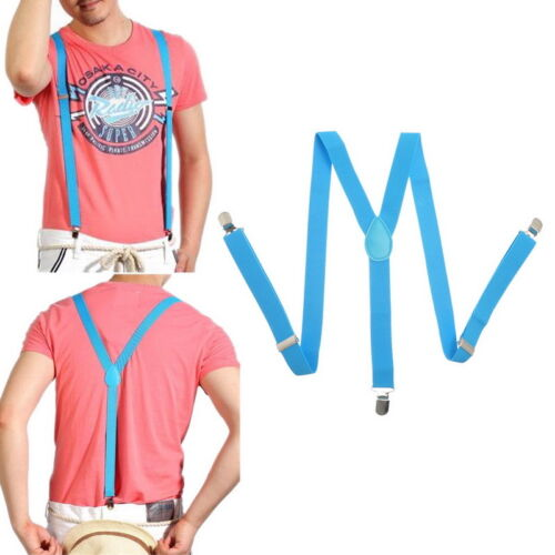 Womens Mens Clip-on Elastic Suspenders Y-Shape Adjustable Braces Solids