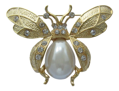 Large Gold Bumble Bee Insect Brooch Pearl Working Bee Brooch Honey Bee Broach