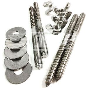 4 X M8 Wood to Metal Dowels Screws Metal Wing Nuts