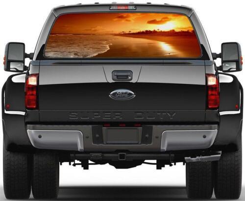 Exotic Beach Sunset Rear Window Decal Graphic Sticker Car Truck SUV Van 463