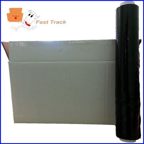 200M 15Mu 3 x Rolls of Pallet Stretch Shrink Wrap Performance BLACK 400mm