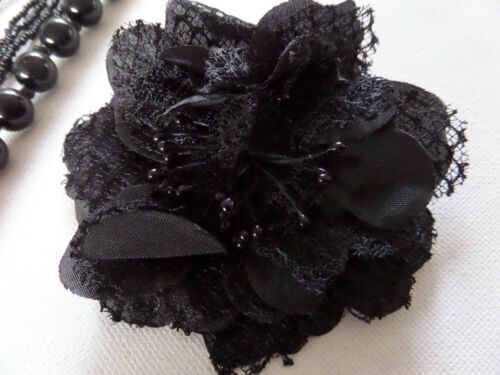 TWO BEAD NECKLACES /& DETACHABLE FLOWER BROOCH in BLACK or CREAM new gift pouch