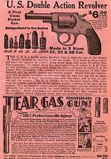 1936 Print Ad of US Double Action Revolver & Tear Gas Fountain Pen Gun .38 S&W