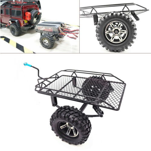 New Rock Crawler Metal Trailer with Tire For 1/10 Axial SCX10 D90 CC01 RC Cars R