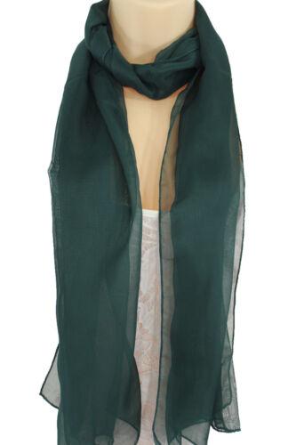 Women Fashion Long Dark Green Neck Scarf Long Soft Sheer Fabric Tie Wrap Classic