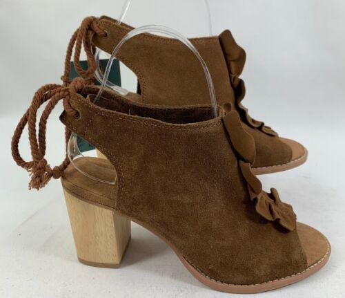 Details about  /TOMS Women/'s Elba Peep-Toe Suede Booties Dark Amber//Ruffle