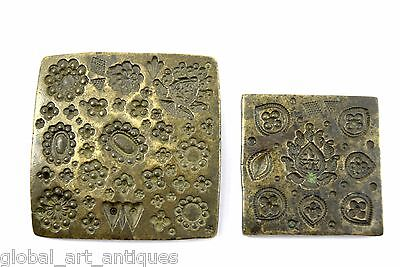 Discreet Lot Of Two Indian Jewellery Making Vintage Rare Bronze Dye/seal/stamp Collectibles Decorative Collectibles G46-50 Us